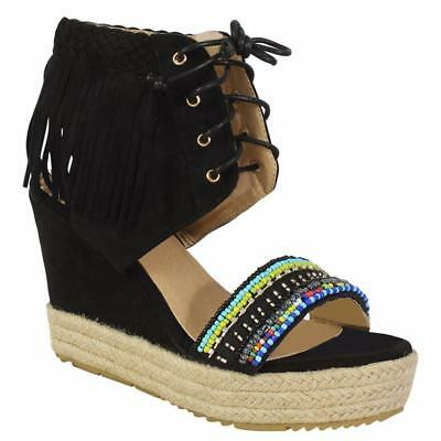 Women/'s Ladies Lace Up Fringe Beaded Hessian High Wedge Open Toe Sandals Size 4