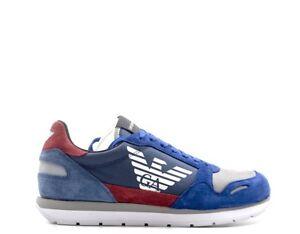 Caricamento dell immagine in corso Scarpe-EMPORIO-ARMANI-Uomo -Sneakers-trendy-BLU-Scamosciato- e527001b11d