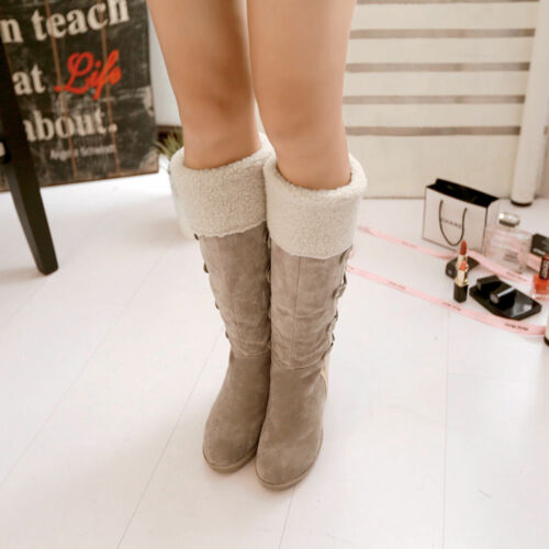 Details about  /Women/'s Faux Suede Winter Knee High Boots Platform Wedge heel Lace Up Shoes Size