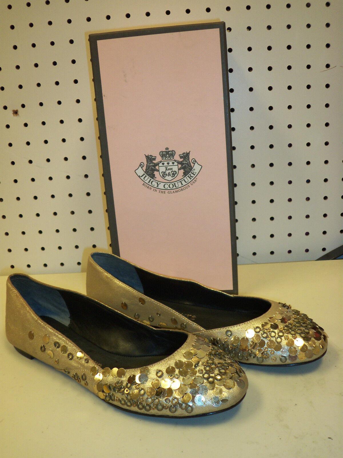 Juicy Couture NEU Damenschuhe Anita 9.5 M Platino Dust Metallic Suede Flats Schuhes