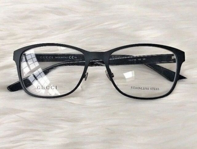 500d61340acc New GUCCI Eyeglasses Frame GG 4268 10G Black Women NOSE PADS Metal Plastic  53 mm