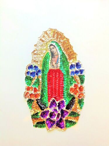 """Our Lady of Guadalupe Virgen de Guadalupe Sequin Sew-On Applique 12/""""X8.5/"""" Patch"""