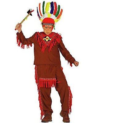 Amabile Vestito Costume Carnevale Capo Indiano 5 6 7 8 9 10 11 Anni
