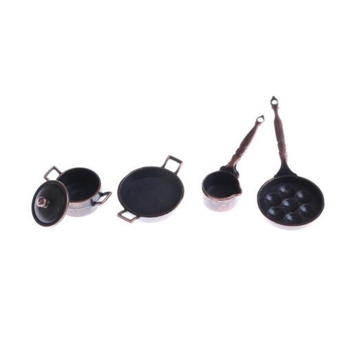 4Pcs Dollhouse Miniature Metal Cooking Pan Pot Set Kitchen Cookware Access x*TOC