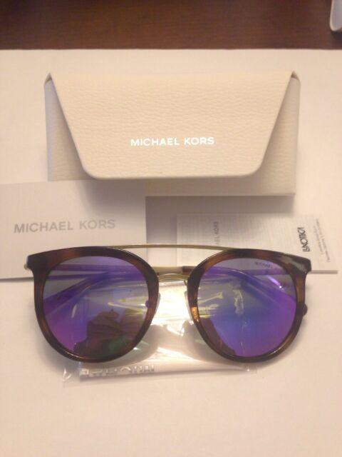 dc5191a11c Michael Kors Womens Ila MK2056 32704X Havana Glold Round Mirrored Sunglasses  NWT