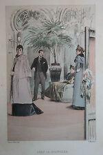 Eau-forte aquarelle pochoir La Femme à Paris Pierre Vidal Fred. Massé Uzanne 17