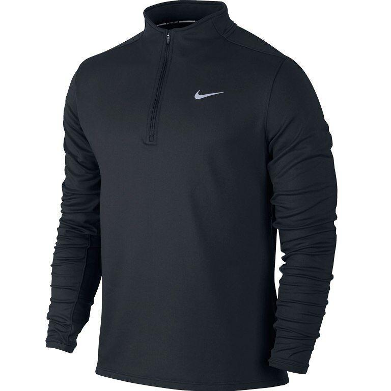 Nike Drifit Termico Zip a Mezza Altezza da Uomo Running MAGLIETTA S Nero Grigio