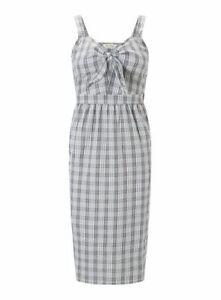 Miss-Selfridge-Midi-Checked-Dress-Womens-Ladies-Tied-Grey-UK-size-10-REF67