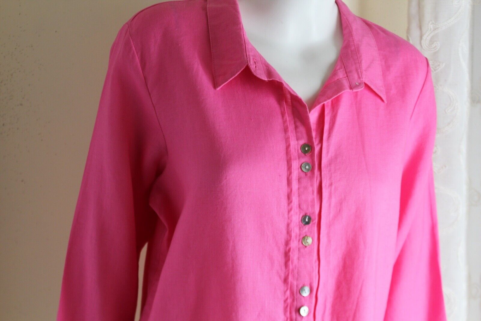 HABITAT Sz L Art-to-Wear Classic Rosa Breezy 100% Linen 3 4 Blouse Shirt Top