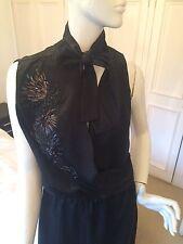 £250 Designer Elie Tahari Black Dress Uk 10 12 Silk Snakeskin Embroidered