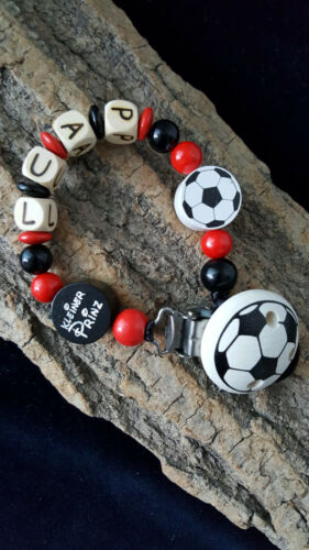 Schnullerkette mit Wunsch-Namen Fußball Kleiner Prinz schwarz rot Junge Baby