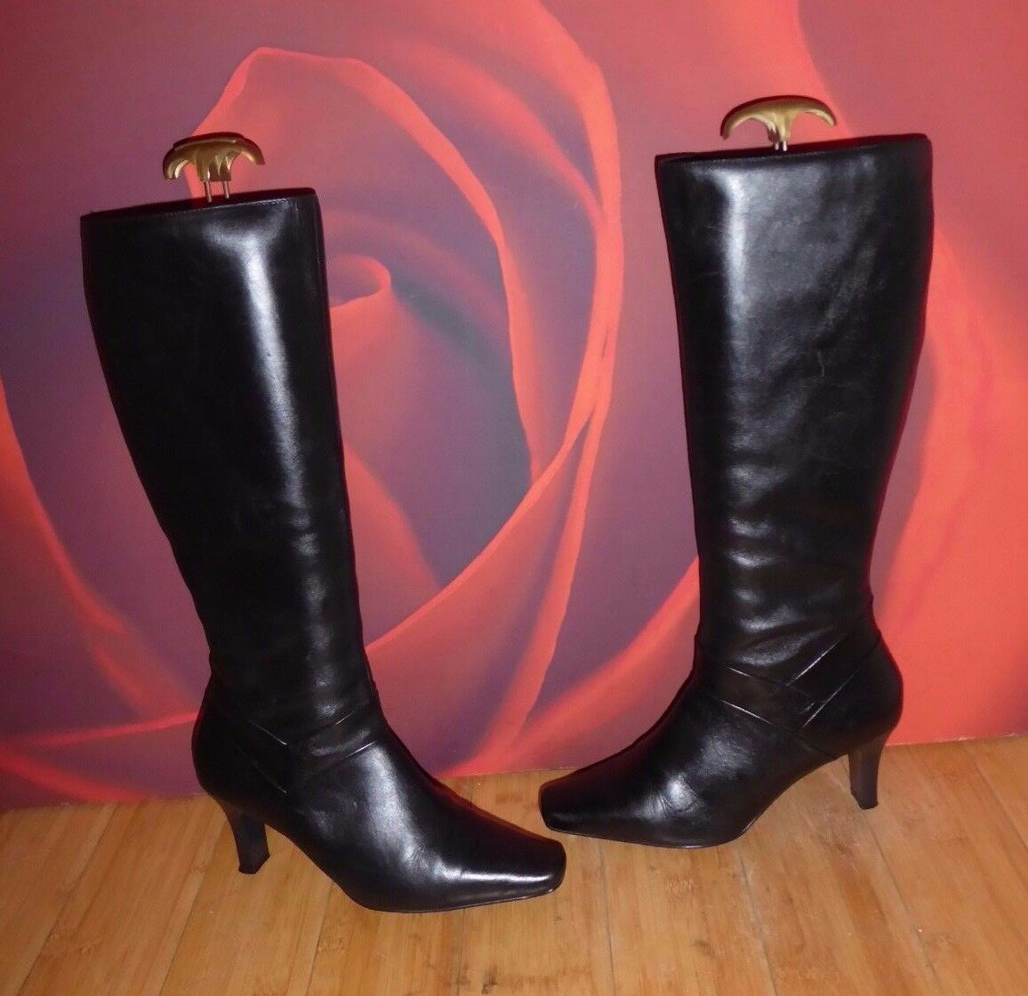 32 DgoldTHY PERKINS BLACK LEATHER  KNEE HEEL BOOTS EU 39 UK 6