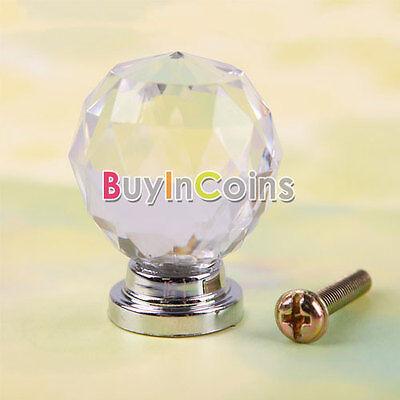 1/10 Plastic Glass Cabinet Knob Drawer Wardrobe Pull Handle Door 30mm Home Use