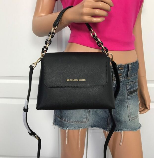 b02883bd1715 NWT MICHAEL KORS PORTIA SMALL SATCHEL CROSSBODY MESSENGER SHOULDER BAG BLACK