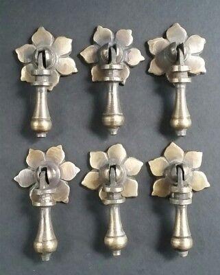"4 Antique Tear Drop Pendant Brass Handle Pulls w.4 Bolts Floral Back  2 1//2/"" #H4"