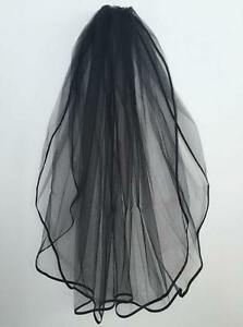 Short-Black-2T-Stain-Edge-Bridal-Gown-Dress-Wedding-Veil-with-Comb-Party-gothic