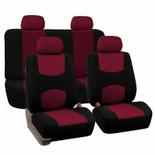 Burgundy & Black Car Seat Covers Full Set For Toyota
