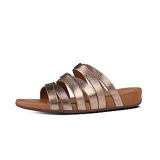 2ebe7cdad208a FitFlop Lumy Leather Slide Sandals Bronze Uk6 SHOETIQUE66609
