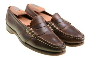 Ralph-Lauren-Brown-Leather-Moc-Stitch-Full-Strap-Penny-Loafers-Dress-Shoes-9-D