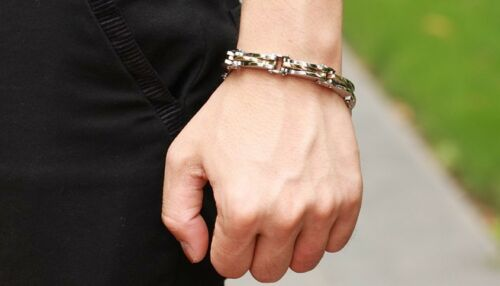 Punk Rock Armbander 2 Farbe Edelstahl Unendlichkeit Gliederkette Männer Schmuck