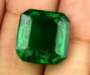 9.75 Ct Muzo Colombian Emerald 100% Natural Gemstone Emerald Cut Certified C2258