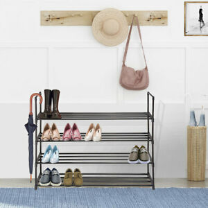 4-Tier-Metal-Shoe-Rack-Shelf-16-Pairs-Standing-Storage-Organizer-Holder-Entryway