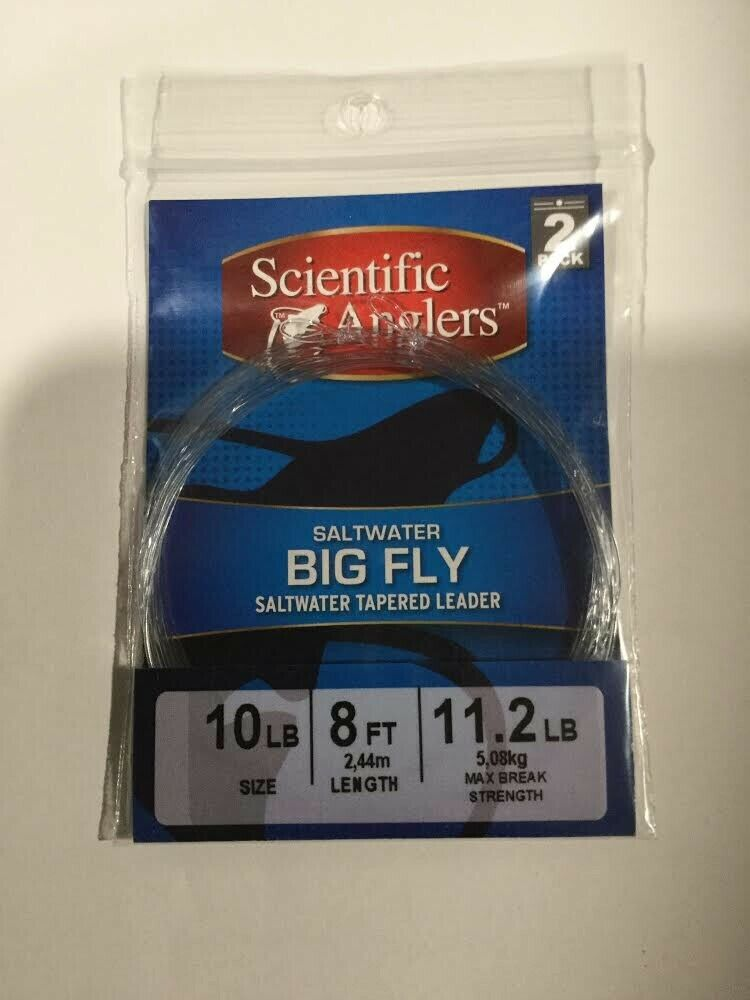 CLOSEOUT SCIENTIFIC ANGLERS SALTWATER gree FLY LEADER 10LB 8FT 2 PACK 11 PACKS