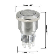 Momentary Metal Push Button Switch 22 Mm Mounting Dia Dpdt 2no 2nc 24v Blue Led