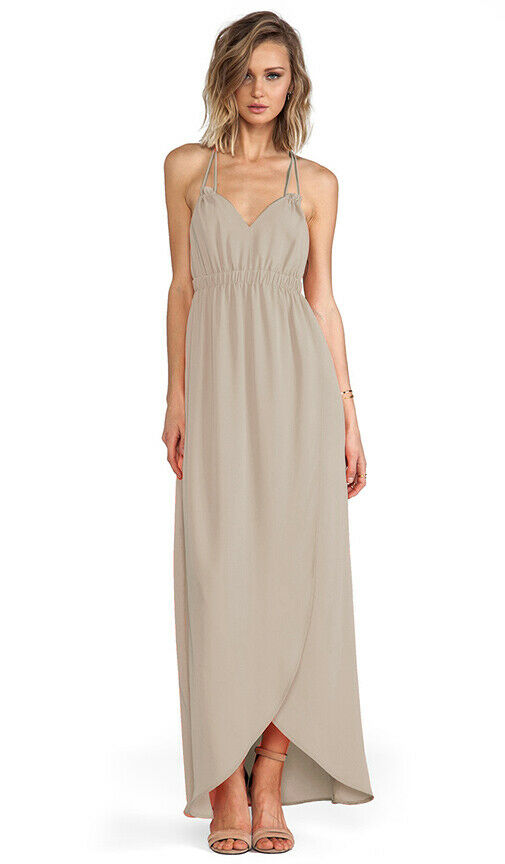 damen Mizani Woherren Größe XS French Beige Grecian Floor Length Tulip Gown
