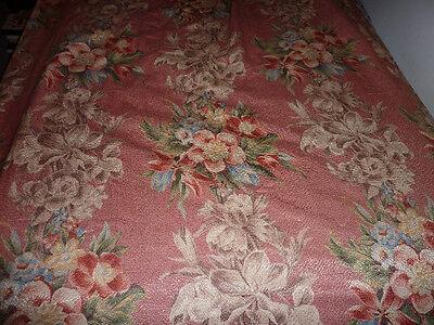 """Vintage barkcloth fabric DRAPES 2 panels 93"""" long cotton / rayon PINK ISH"""