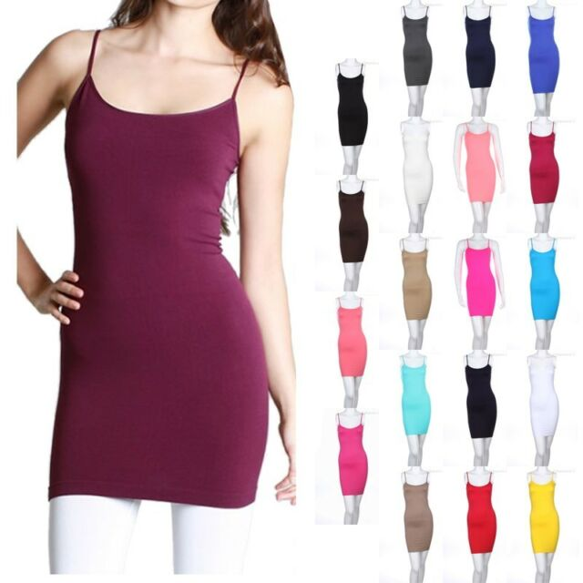Women's Slip Dress Cami Camisole Seamless Extra Long Solid Tunic Mini Tank Top