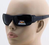 Mens Dark Black Polarized Lens Og Biker Wrap Sunglasses Oil Rig Locs Styl Shades