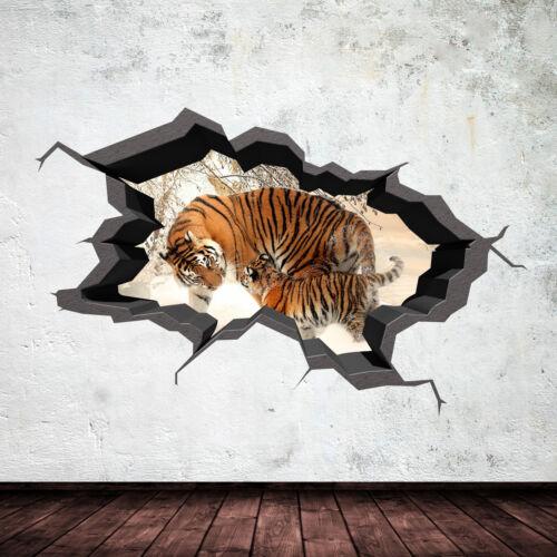 FULL COLOUR TIGER SAFARI WILD CAVE CRACKED 3D WALL ART STICKER DECAL MURAL 5