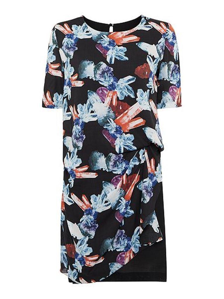 Beautiful Armani Jeans Short Sleeve Jewel Print Side Ruched Dress Size 46