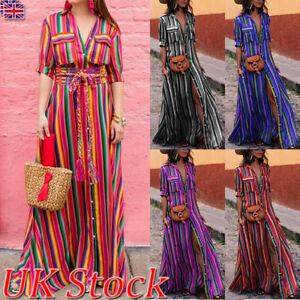 Boho-Women-Summer-Holiday-Striped-Maxi-Dress-V-neck-Long-Shirt-Dress-Plus-Size
