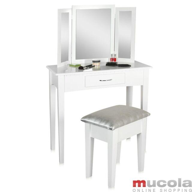 Schminktisch + Hocker Spiegel Frisierkommode Frisiertisch Kosmetiktisch weiss