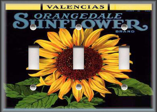 Vintage Fruit Crate Home Decor Sunflower Metal Light Switch Plate Cover