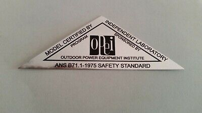 Reproduction 1975 Opei Chrome Safety Standards Adhesive Decal, Lawn-boy, Toro. Wees Nieuw In Ontwerp