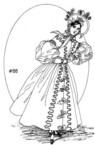 This Sewing Pattern will make an 1830/'s French Fashion Gown With Hat #88