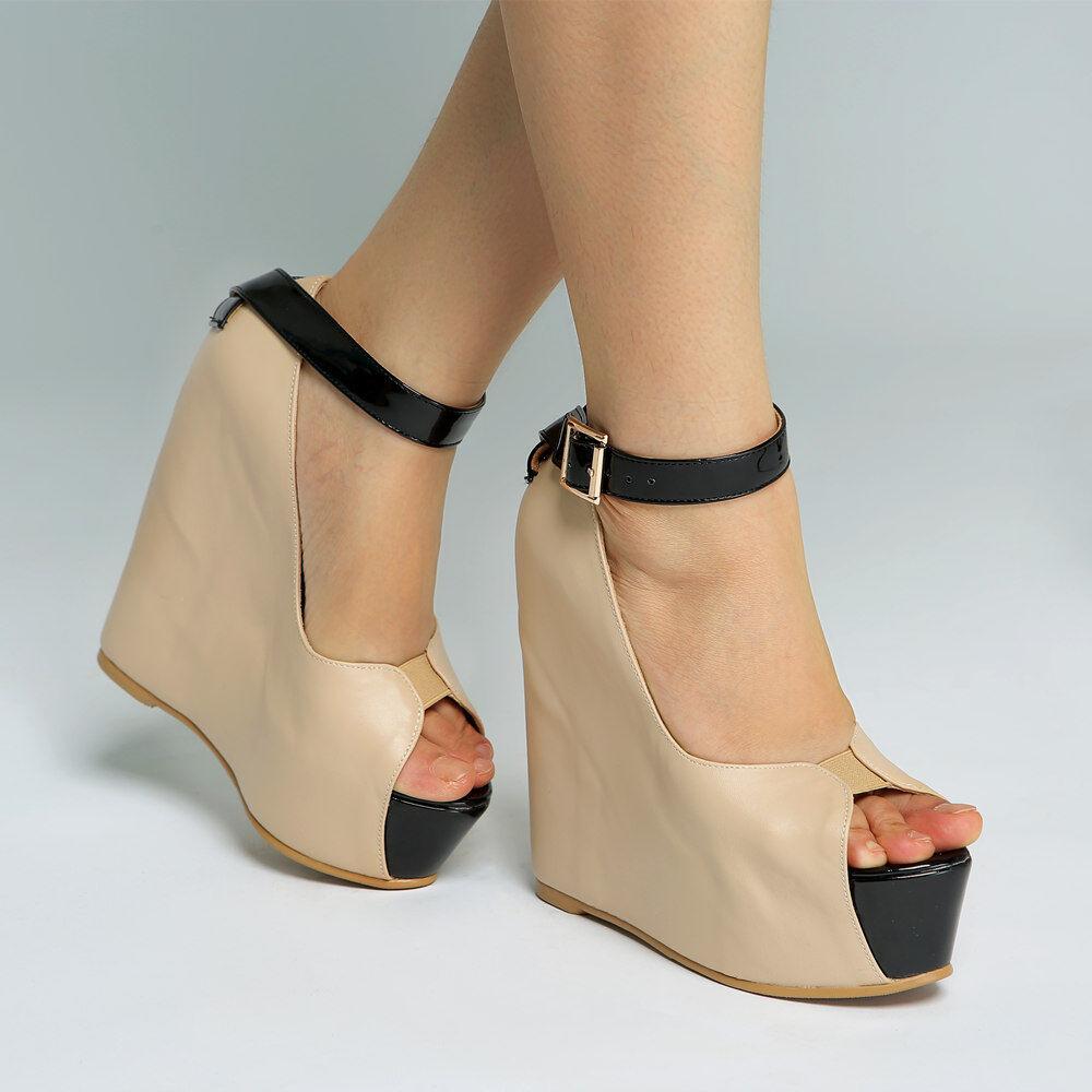 Donna 14cm Wedge High Heels Platform Peep Toe Sexy Buckle Club Shoes Plus Size