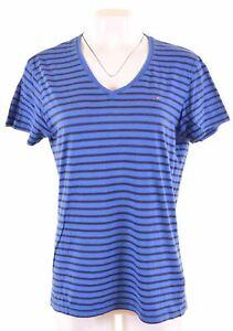 Tommy-Hilfiger-T-shirt-femme-neuf-taille-16-large-en-coton-a-rayures-bleu-HX30