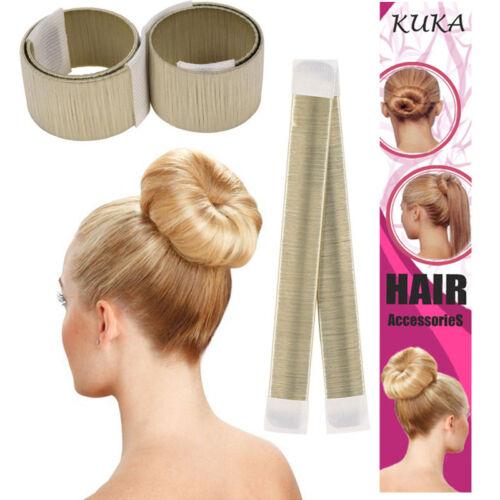 Hair Bun Maker Donut Styling Bands Former Foam French Twist Snap DIY Tool Blonde