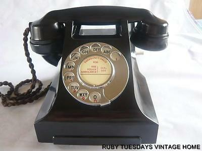 STUNNING VINTAGE GPO BLACK BAKELITE TELEPHONE Art Deco Retro Antique dial phone
