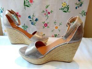 Next-Ladies-Silver-PU-Leather-Espadrille-Wedge-Sandals-UK-8-BNWOB-New