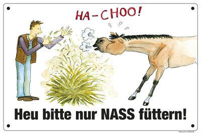 Stall-Schild Comic-Schild Boxenschild HEU BITTE NASS FÜTTERN!