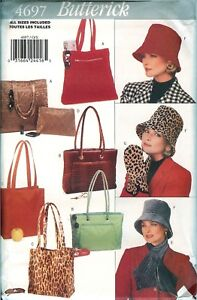 Butterick-4697-BAGS-TOTES-HATS-Purses-Cloche-Scarf-Misses-Sewing-Pattern-UNCUT