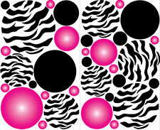 POLKA DOTS CIRCLES Zebra print wall stickers 33 decals PINK RADIALS teen dorm