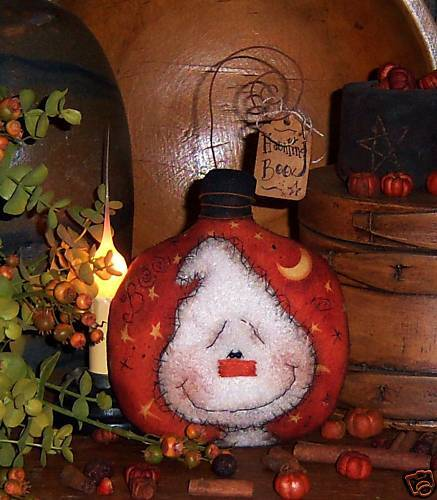 Primitive Halloween Doll Pillow Ghost Ornie Paper Pattern 521