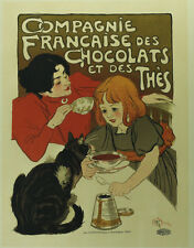 T A Steinlen (Swiss 1859 - 1923) Colored Lithograph Chocolate de la Compagnie