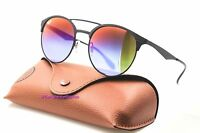 Ray Ban Rb 3545 186/b1 Black Blue/violet Mirror Round 54mm Sunglasses Auth